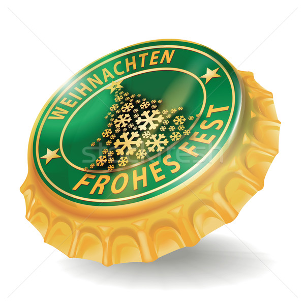 Stock photo: Bottle cap christmas and merry christmas