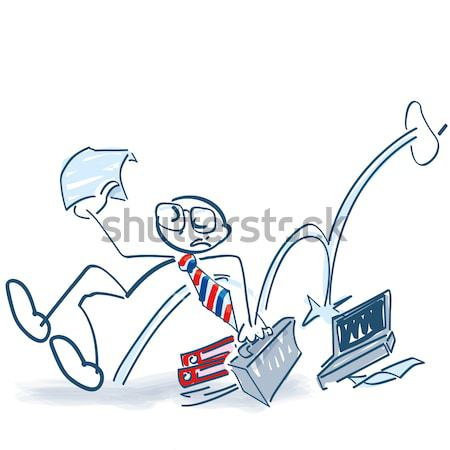Stick figure makes with joy a jump in the air and is successful Stock photo © Ustofre9