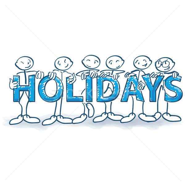 Stock photo: Six stick figures with letters and holidays