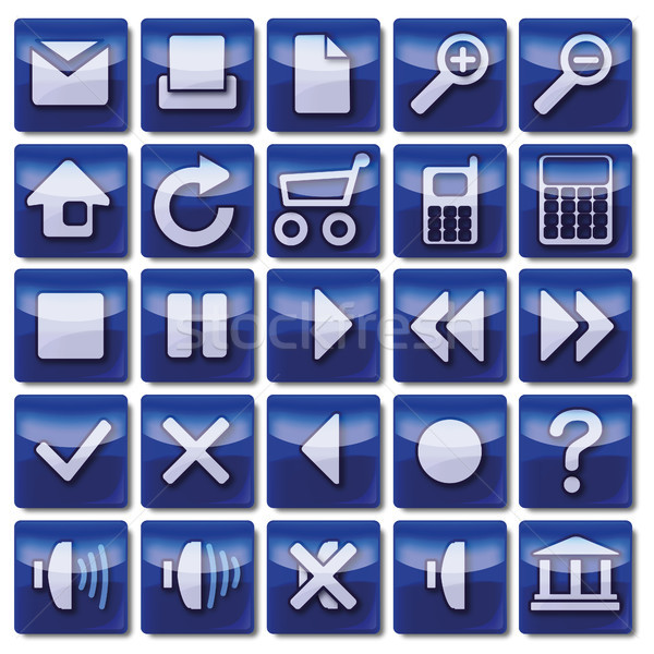 Azul iconos de la web negocios teléfono trabajo casa Foto stock © Ustofre9