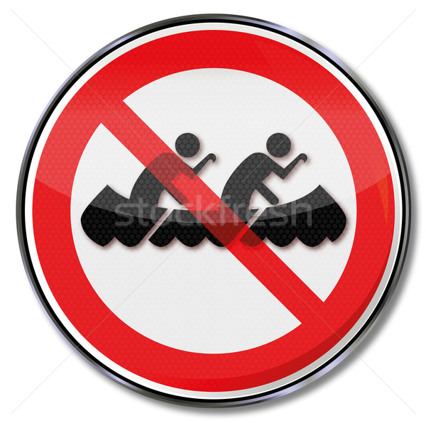 Prohibition sign no canoes and rowing boats on the waterway Stock photo © Ustofre9