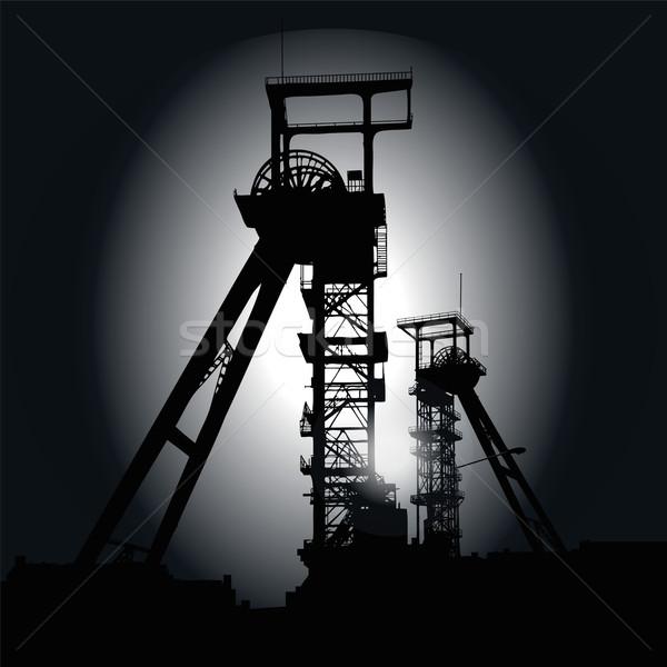 Towers ночь промышленности завода мозг черный Сток-фото © Ustofre9