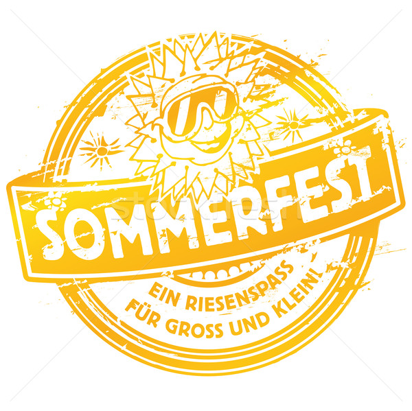 Rubber stamp summer festival with sun Stock photo © Ustofre9