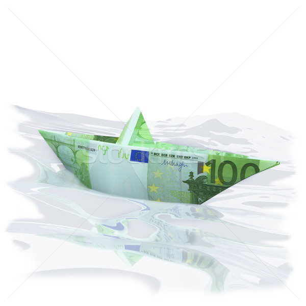 Paper boat with 100 € Stock photo © Ustofre9