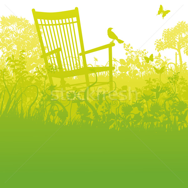 Rocking chair in an overgrown garden and pause Stock photo © Ustofre9