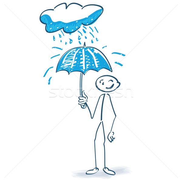 Stick figure with umbrella and cloud Stock photo © Ustofre9