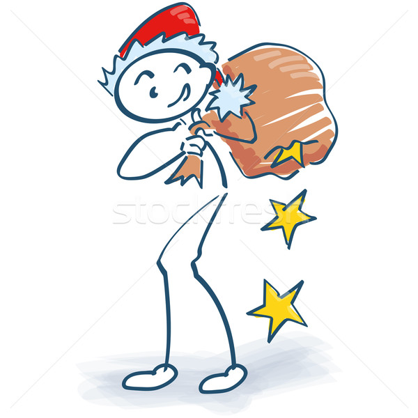 Stick figure as Santa Claus with gifts bag and stars Stock photo © Ustofre9