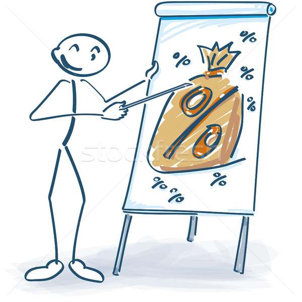 Stick figure with a flip chart and percent sack Stock photo © Ustofre9