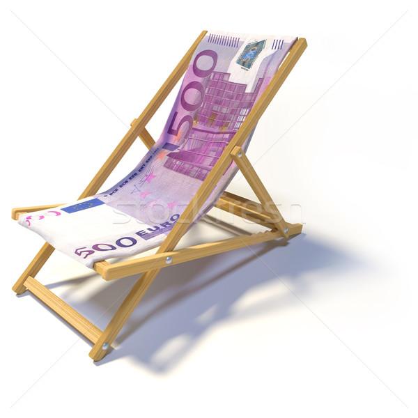 Napozószék 500 Euro üzlet pénz pihen Stock fotó © Ustofre9