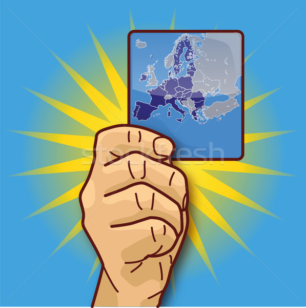 Hand showing a map with the European Union Stock photo © Ustofre9