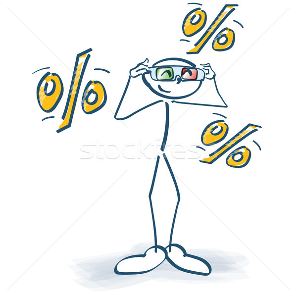 Stick figure with 3d glasses and lots of percents Stock photo © Ustofre9