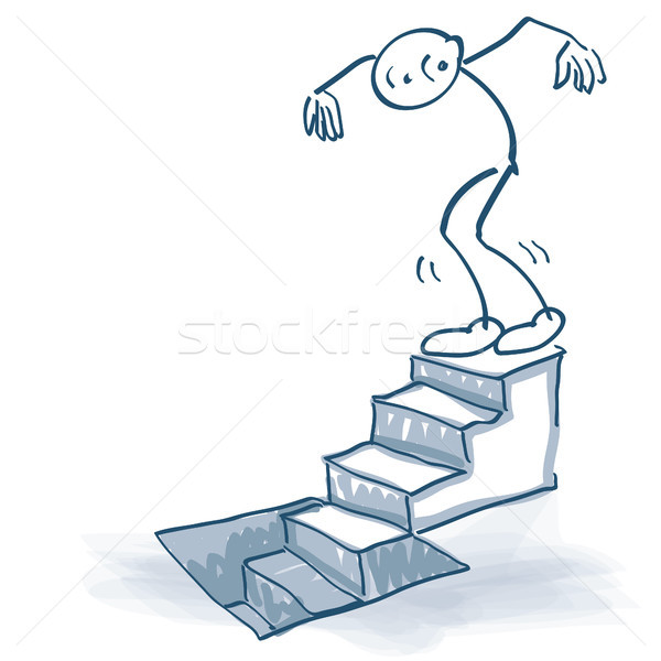 Stick figure goes down a staircase to the basement Stock photo © Ustofre9