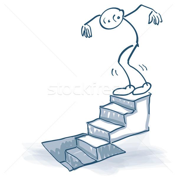 简笔划 下 楼梯 地下室 工作 男 商业照片 ustofre9