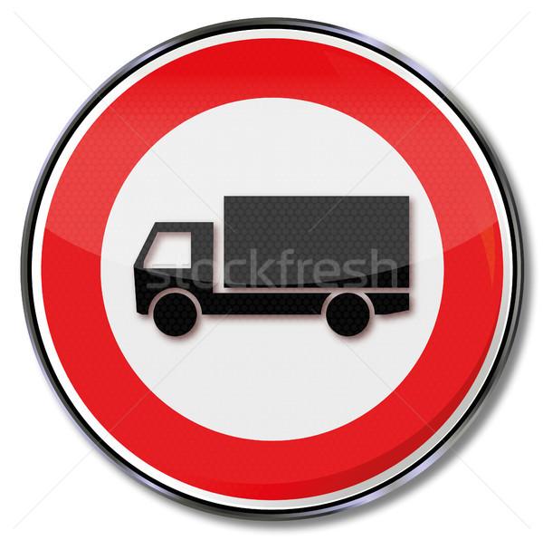 Segnale di traffico divieto camion piatto segni pulsante Foto d'archivio © Ustofre9