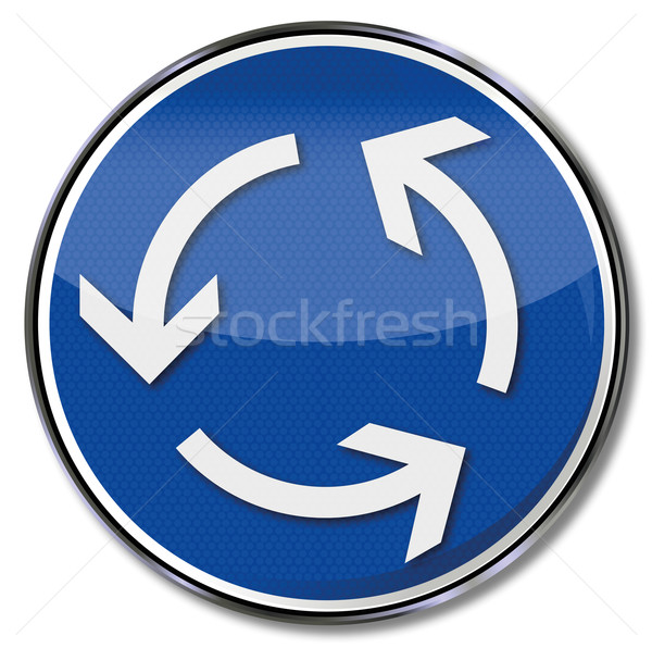 Verkeersbord rotonde verkeer computer teken oefening Stockfoto © Ustofre9