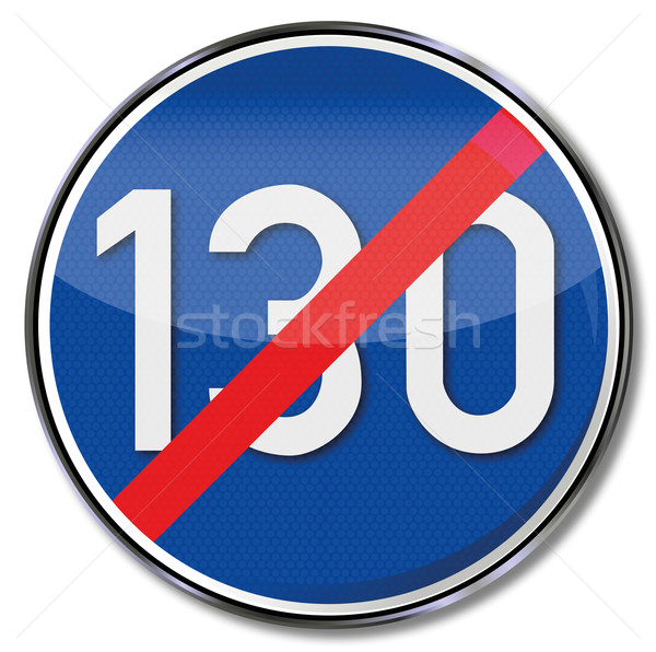 Traffic sign repealing directive speed 130 Stock photo © Ustofre9