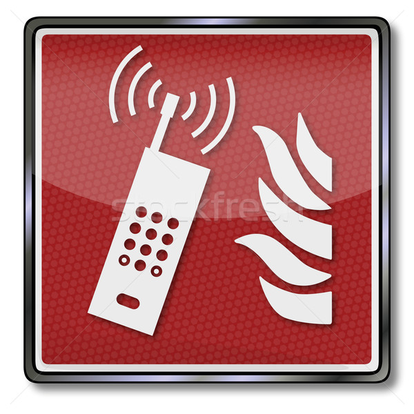 Fire safety sign and emergency call mobile phone Stock photo © Ustofre9