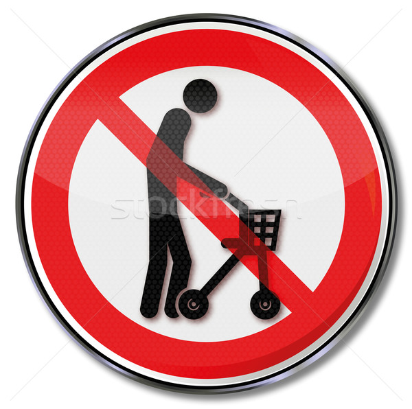 Prohibition sign with old man an a rolling support  Stock photo © Ustofre9