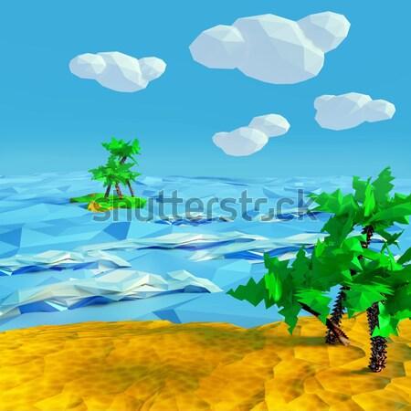 Pequeno palma ilha mar modelo oceano Foto stock © Ustofre9