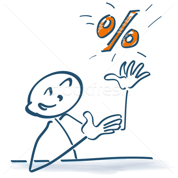 Stick figure with percentages Stock photo © Ustofre9