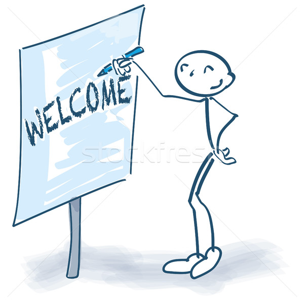 Stick figure with flip-chart and welcome Stock photo © Ustofre9