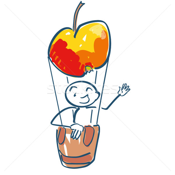 Stick figure sits in a hot air balloon as an apple Stock photo © Ustofre9