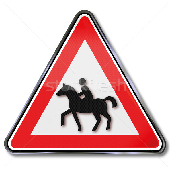 Caution street sign riders, horse and bridle path Stock photo © Ustofre9