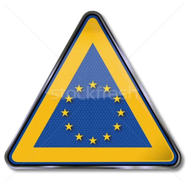 Podpisania Europie gwiazdki star znaki przycisk Zdjęcia stock © Ustofre9