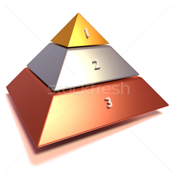Pyramid in bronze, silver and gold  Stock photo © Ustofre9