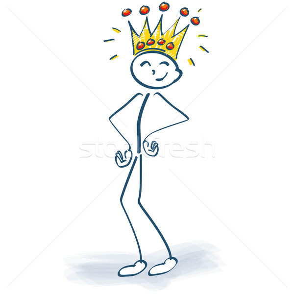 Stock photo: Stick figure with crown and the customer is king