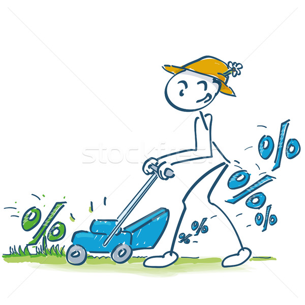 Stick figure in percentages mow the lawn mower Stock photo © Ustofre9
