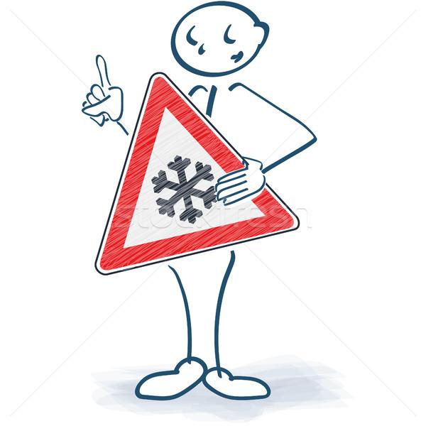 Stick figure podpisania Snowflake ciało wody drogowego Zdjęcia stock © Ustofre9