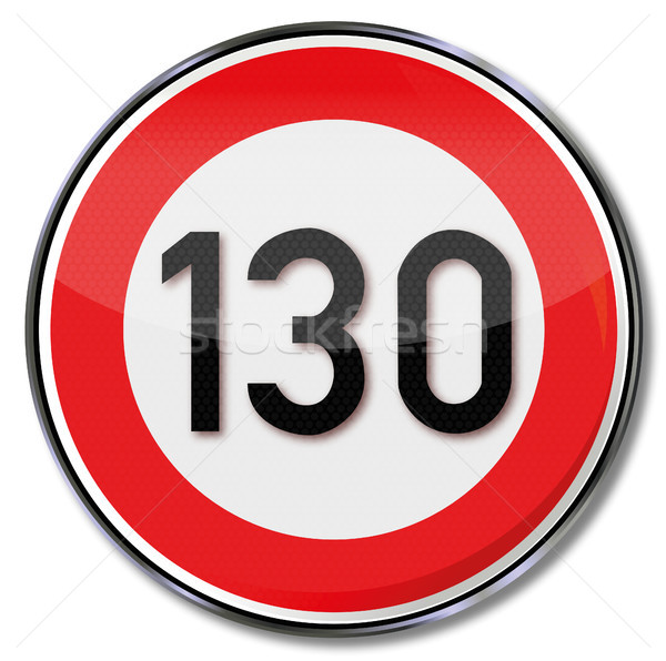Traffic sign maximum speed 130 kmh Stock photo © Ustofre9
