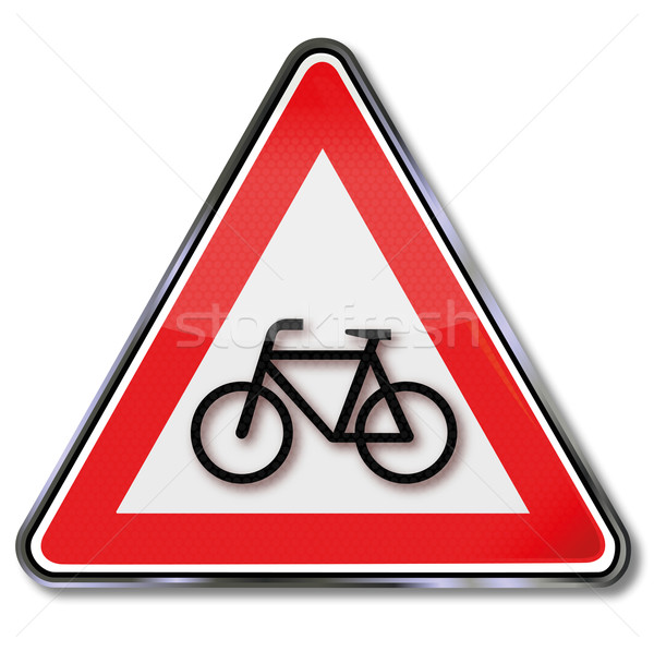 Traffic sign warning bicycles and bicycles Stock photo © Ustofre9