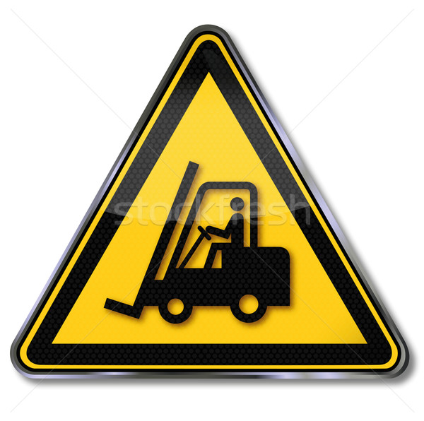 Stock photo: Danger sign warning for fork lift trucks and forklift