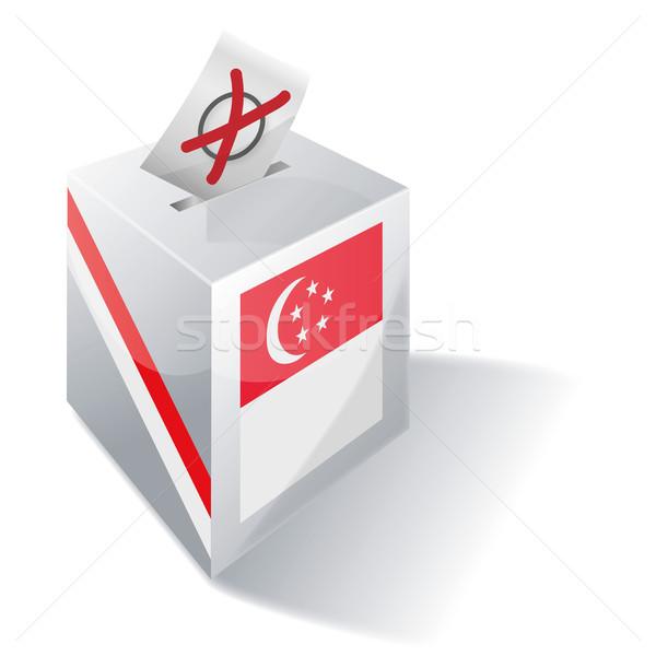 Photo stock: Scrutin · boîte · Singapour · croix · pavillon · enveloppe