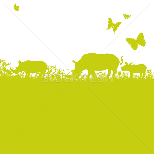 Blades of grass and rhinos in Africa Stock photo © Ustofre9