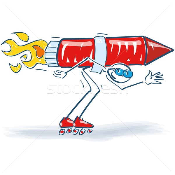 Stick figure with a rocket on his back and roller skates Stock photo © Ustofre9