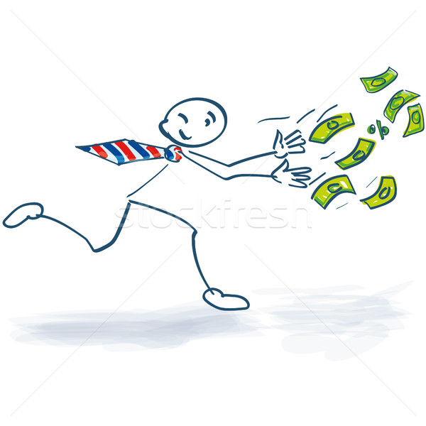 Stick figure running after the money Stock photo © Ustofre9