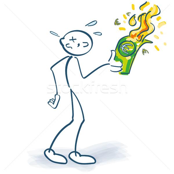 Pálcikaember eurók lefelé üzlet pénz tűz Stock fotó © Ustofre9