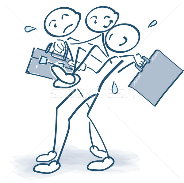 Stick figures carrying an injured colleague with a bag Stock photo © Ustofre9