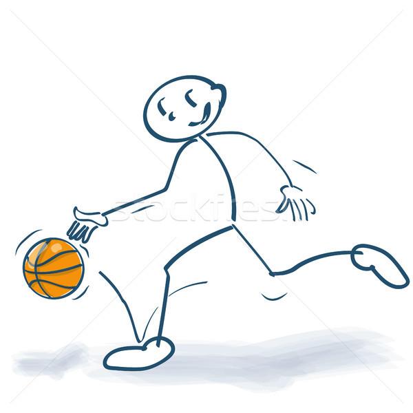 Pálcikaember játszik kosárlabda iskola sport fitnessz Stock fotó © Ustofre9