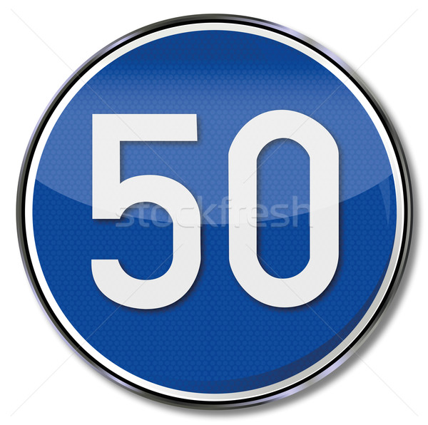 Directional traffic sign speed 50 kmh Stock photo © Ustofre9
