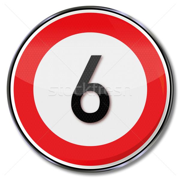 Stock photo: Traffic sign speed 6 kmh