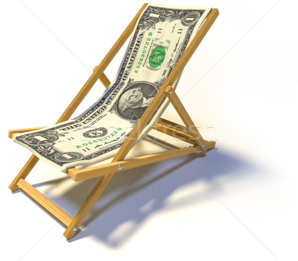 Folding deckchair with one dollar Stock photo © Ustofre9