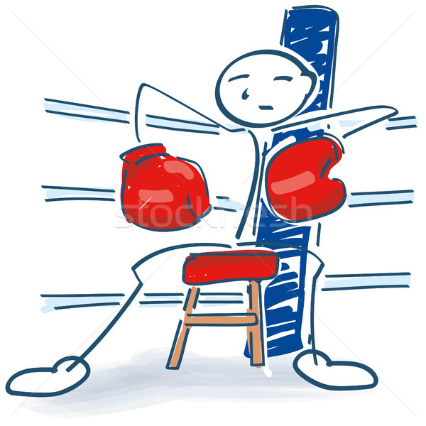 Stick figure as a boxer in the corner Stock photo © Ustofre9