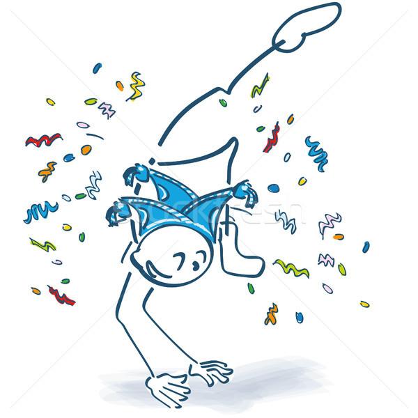 Pálcikaember szökkenés konfetti karnevál születésnap idő Stock fotó © Ustofre9