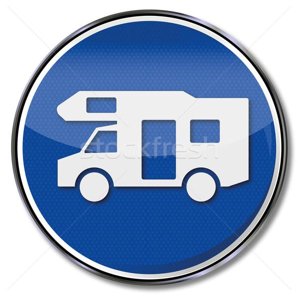 Photo stock: Panneau · de · signalisation · caravane · route · nature · été · signe