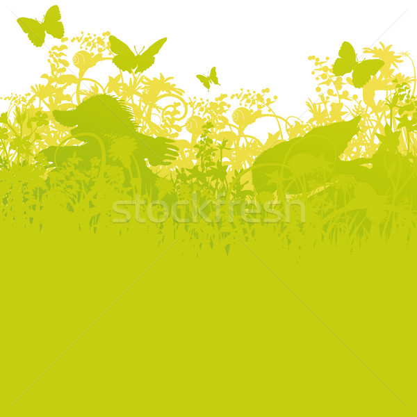 два цветы трава карта природы пейзаж Сток-фото © Ustofre9