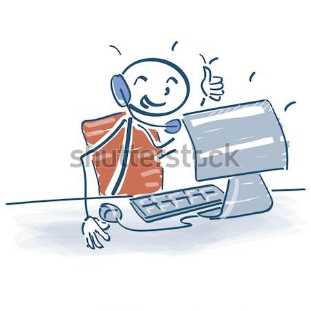 Stick figure with cloud computing Stock photo © Ustofre9